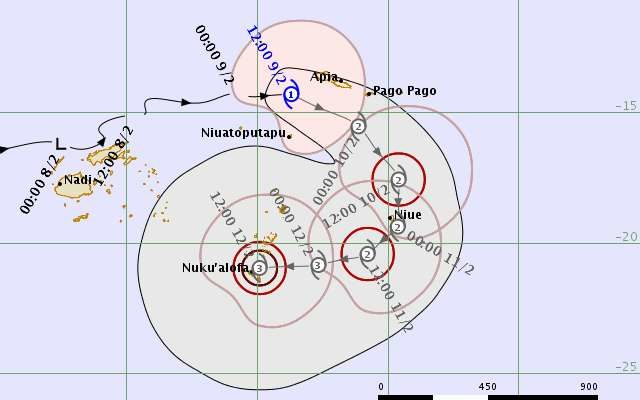 The forecast trajectory of cyclone Gita.