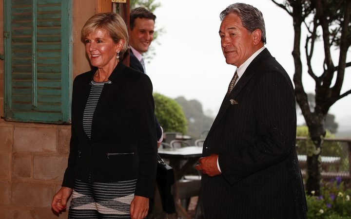 Julie Bishop and Winston Peters arrive at their meeting on Waiheke Island.