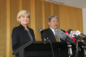 Australian Foreign Minister Julie Bishop and New Zealand Foreign Minister Winston Peters at a media stand up after trade talks.