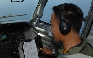 Indonesian Air Force aircraft are taking part in the search for the missing plane.