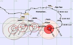 Tropical cyclone forecast track map issued 0129 UTC Monday 12 February 2018