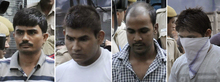 (from left) Akshay Thakur, Vinay Sharma, Mukesh Singh and Pawan Gupta at an earlier court appearance.