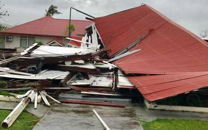 The parliament in Tonga after the storm.