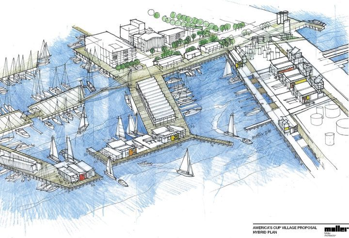 An artist impression of the government's alternative plan for an America's Cup Village, with more bases on Wynyard Point.