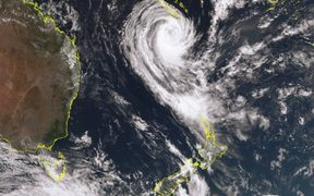 Satellite imagery of Cyclone Gita.