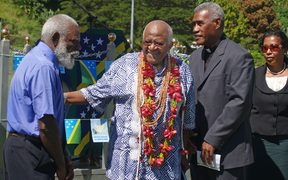May 1, 2009 shows South Africa's Archbishop Desmond Tutu (2nd-L) greeting the Truth and Reconciliation Commissioners George Kejoa (L), Chairman Father Sam Ata (2nd-R) and Caroline Laore (R)