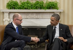 Barack Obama, right, and Ukraine's Prime Minister Arseniy Yatsenyuk met in Washington last week.