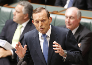 Tony Abbott at Parliament House on Monday.