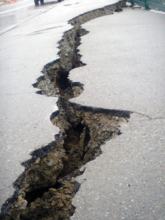 Cracks in the pavement in  Lyttleton.