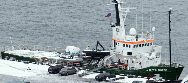 The Arctic Sunrise docked in Murmansk.