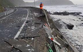 The seawall on State Highway 1 north of Pukerua Bay has been washed out by Gita.