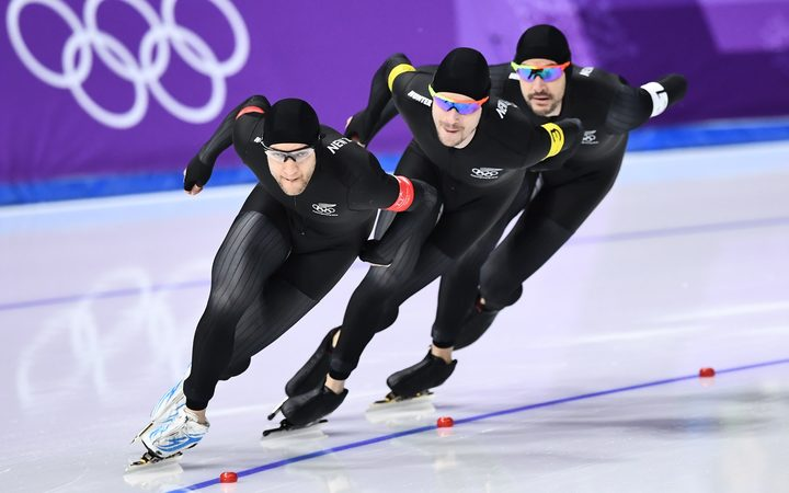 Front to back: New Zealand's Reyon Kay, New Zealand's Peter Michael, and New Zealand's Shane Dobbin compete in the men's team pursuit quarter-final speed skating event during the Pyeongchang 2018 Winter Olympic Games.