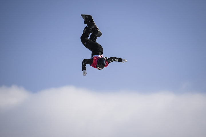 New Zealand's Zoi Sadowski Synnott competes during the final of the women's snowboard big air event.