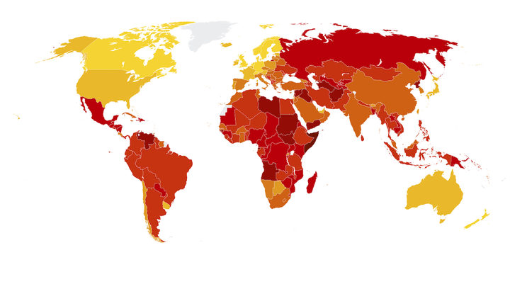 Corruption in the world. Yellow for the least corruption, darker red for most corruption.