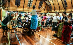 The final rehearsal at the Pacific Island Presbyterian church hall in Newtown.