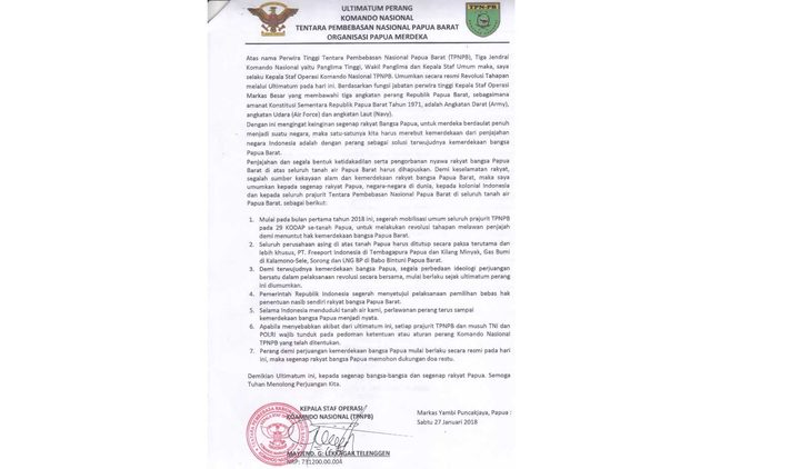 West Papua National Liberation Army statement declaring the latest stage of a military campaign for independence.