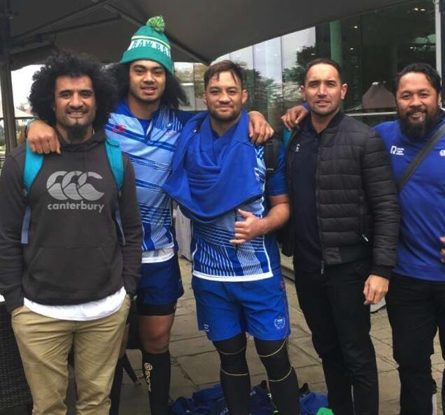 Pacific Rugby Players Chair Hale T Pole (L), CEO Aayden Clarke (2R) and board member Seilala Mapusua (R) with Manu Samoa internationals Chris Vui and Jack Lam.