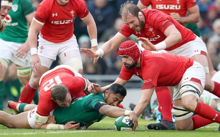 Ireland's Bundee Aki scores against Wales.