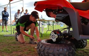 Will Taylor competing yesterday in the quad bike module.