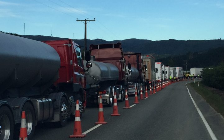 A convoy waiting to to head over the Takaka Hill this morning.