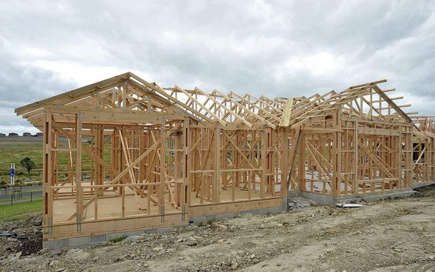 The framing and timber studs of a newly constructed house in Albany.