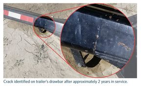 Crack identified on trailer's drawbar after approximately two years in service. (The alert was issued following the identification of failures in towing connections involving drawbeams and drawbars certified by Peter Wastney Engineering Ltd.)