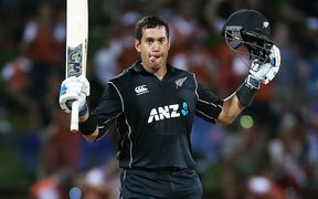 Ross Taylor celebrates his 18th ODI century.