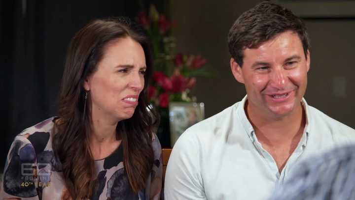 Jacinda Ardern reacts when Charles Wooley asks when her baby was conceived.