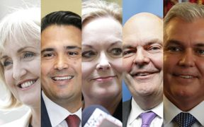 The contenders for the National Party leadership: (from left) Amy Adams, Simon Bridges, Judith Collins, Steven Joyce and Mark Mitchell.