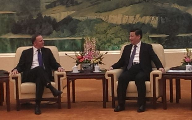 John Key and President Xi Jinping meeting in Beijing on Wednesday.
