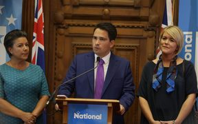 New National Party leader Simon Bridges, with deputy Paula Bennett (left) and wife Natalie.
