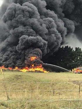The North Canterbury tyre fire threatened to spread to another huge pile of tyres nearby.