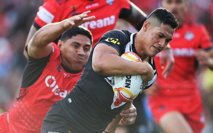 New Zealand fullback Roger Tuivasa-Sheck in action during the Rugby League World Cup 2017 Pool B match - New Zealand Kiwis v Tonga played at Waikato Stadium.
