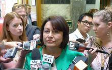 Hekia Parata speaking to reporters at Parliament.