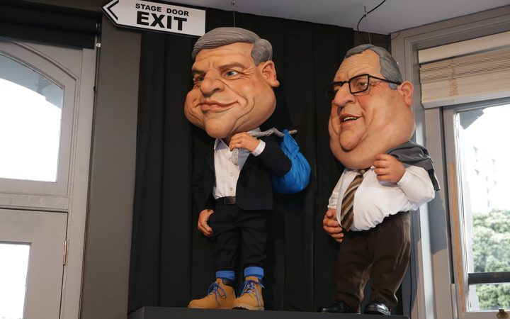 New puppet caricatures of Bill English and Gerry Brownlee adorn the Backbencher pub across from Parliament.