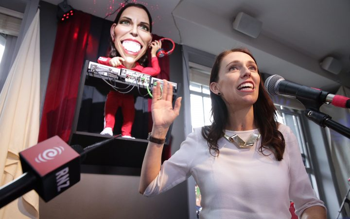 Jacinda Ardern was at the unveiling of her DJ puppet at the Backbencher pub across from Parliament.