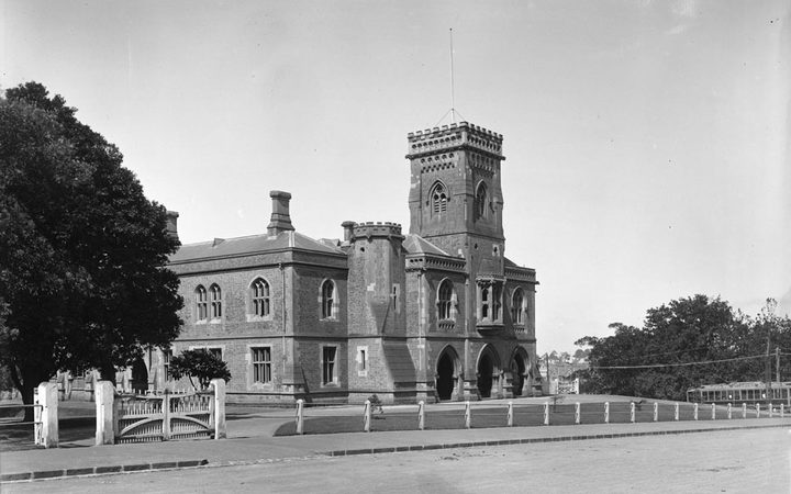 Showing the front view of the Supreme Court, looking north east towards Anzac Avenue, in 1921.
