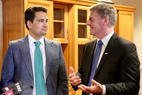 Bill English with new National Party leader, Simon Bridges.