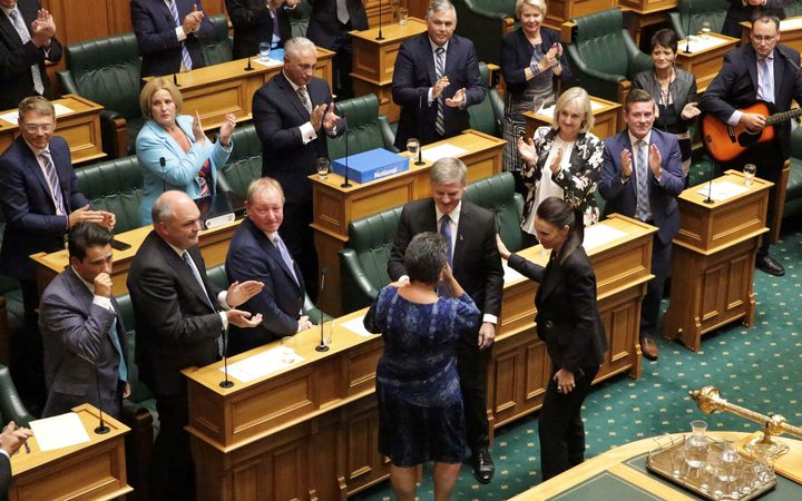 Bill English says farewell after making his valedictory speech in Parliament.