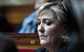 Head of French far-right National Front party and member of Parliament Marine Le Pen.