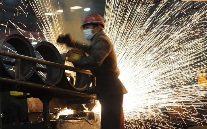 A Chinese worker at a steel mill in Hefei, in eastern China's Anhui province.