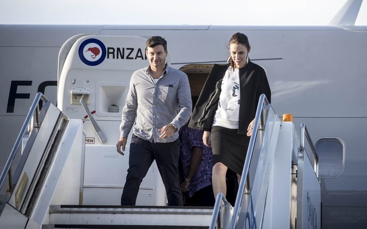 Prime Minister Jacinda Ardern arrives in Samoa with her partner, Clarke Gayford,