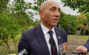 Defence Minister Ron Mark at the service for Lieutenant Alfred Preece.