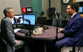 National Party leader Simon Bridges (right) in the studio with RNZ presenter Guyon espiner.