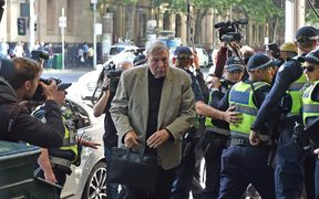 Cardinal George Pell arrives today at the Victorian Magistrates Court for an expected month-long committal hearing relating to historical sexual offence charges in Melbourne. March 5: 05/03/2018