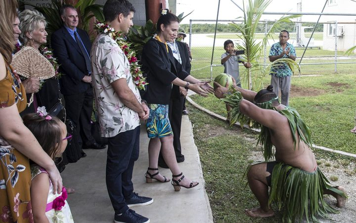 NZ Prime Minister Jacinda Ardern is welcomed to Niue with a Takalo, a traditional Niue war dance.