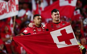 Andrew Fifita, (right) and Michael Jennings get emotional while representing Tonga at the 2017 Rugby League World Cup