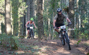 Mountainbike action Lake Mangamahoe