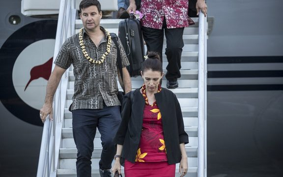 Jacinda Ardern and her partner, Clarke Gayford, arrive in Tonga.