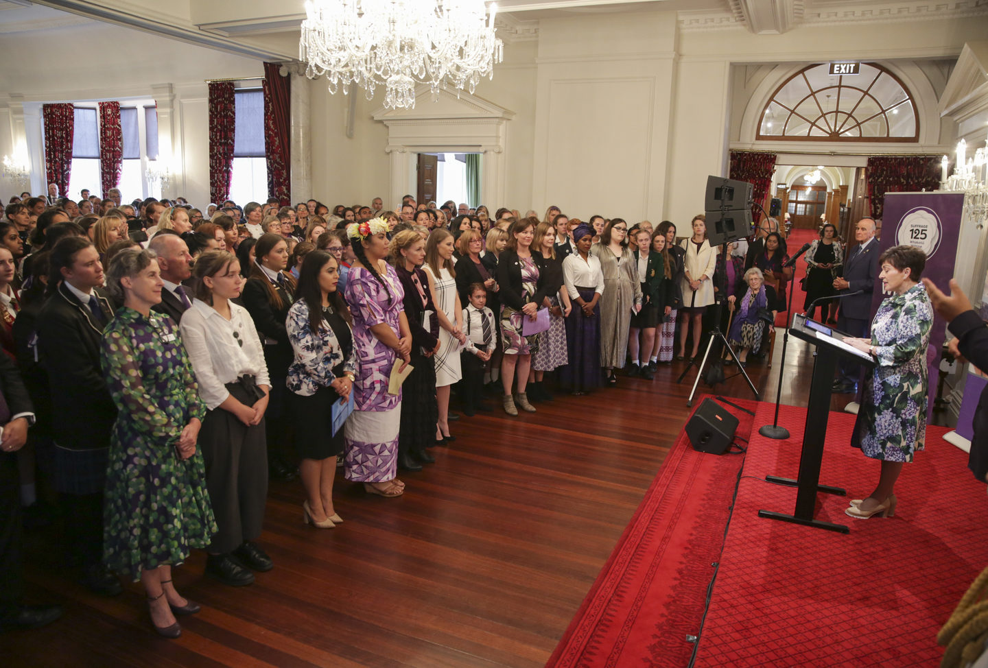 Dame Patsy Reddy at the celebration on the eve of International Women's Day, commemorating 125 years since women's sufferage.